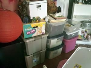 boxes full of my artist PR, memorabilia, my grandmother's travel photo albums & my children's artwork